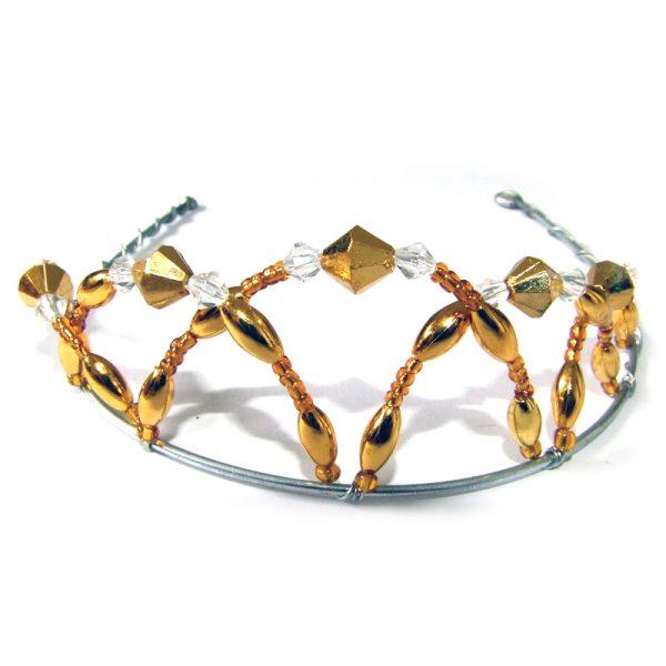 beaded gold tiara