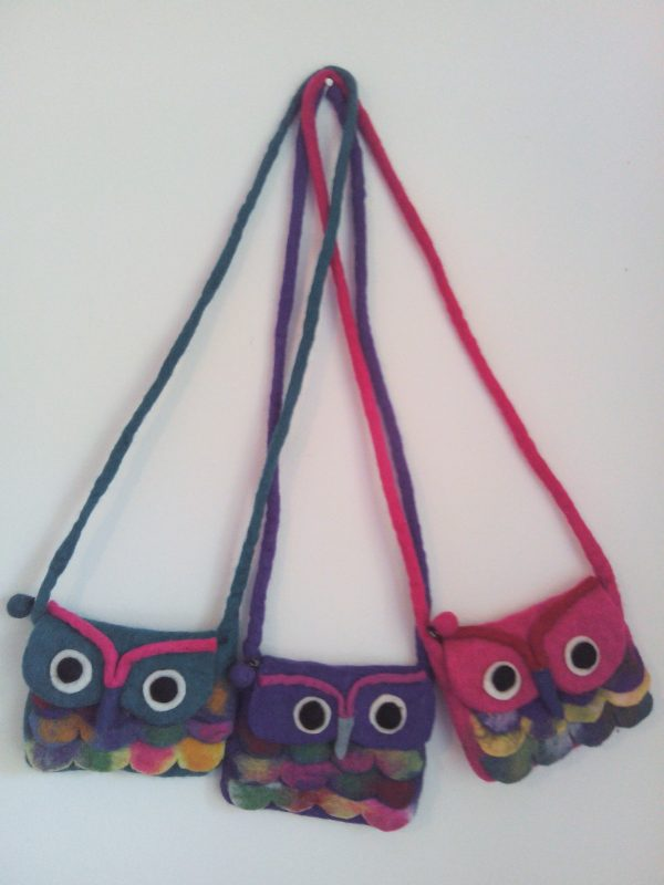 100% wool owl felt handbags for kids
