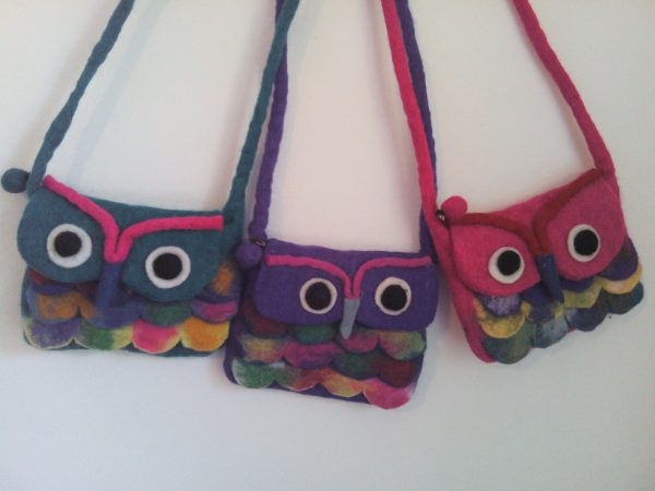 100% wool felt owl handbags