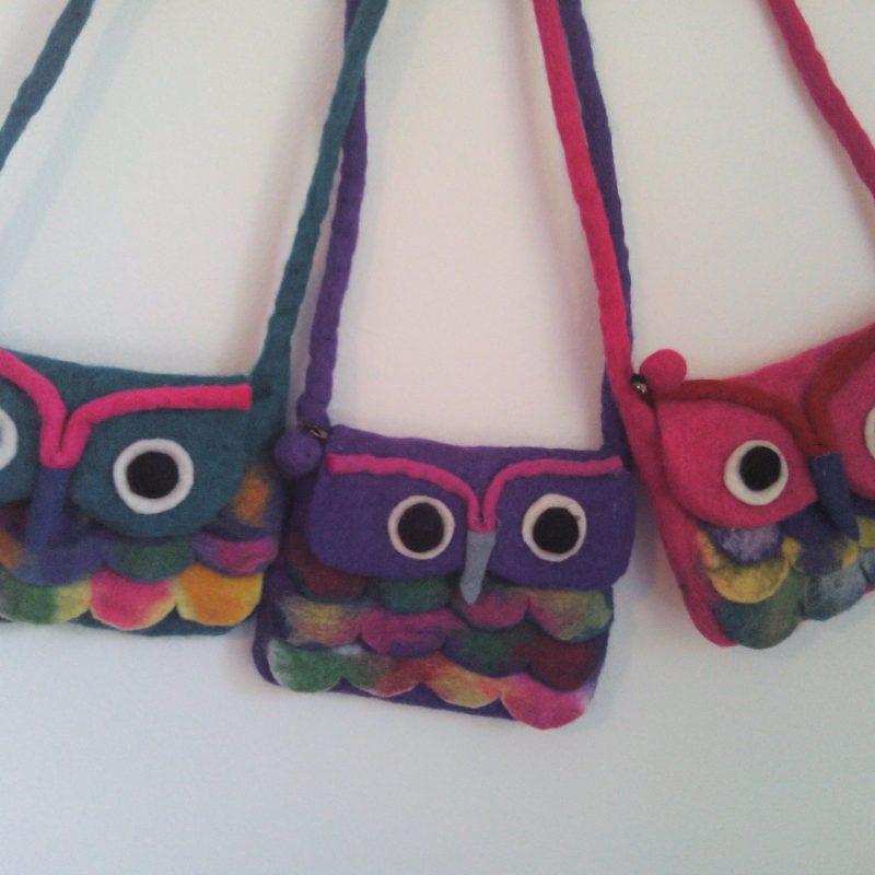 100% wool felt owl handbags