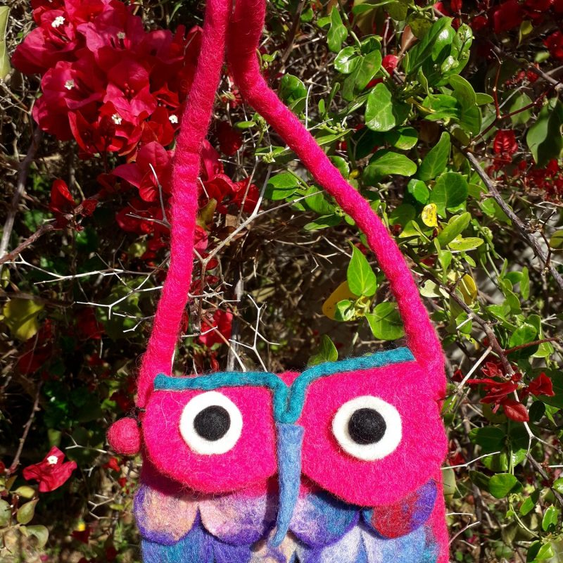 pink felt owl handbag for children
