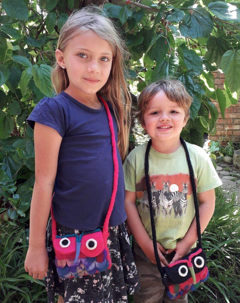 pink felt owl handbag for children