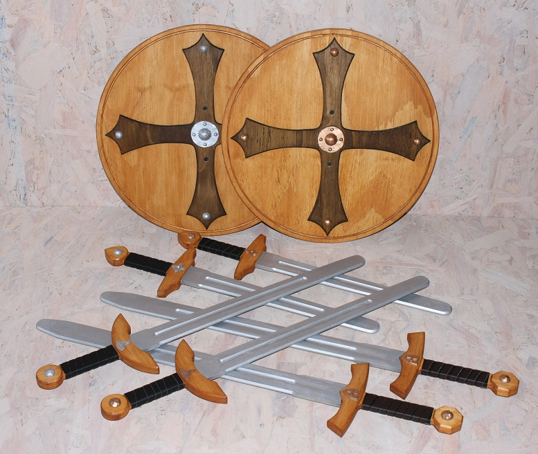 wooden viking swords and shields