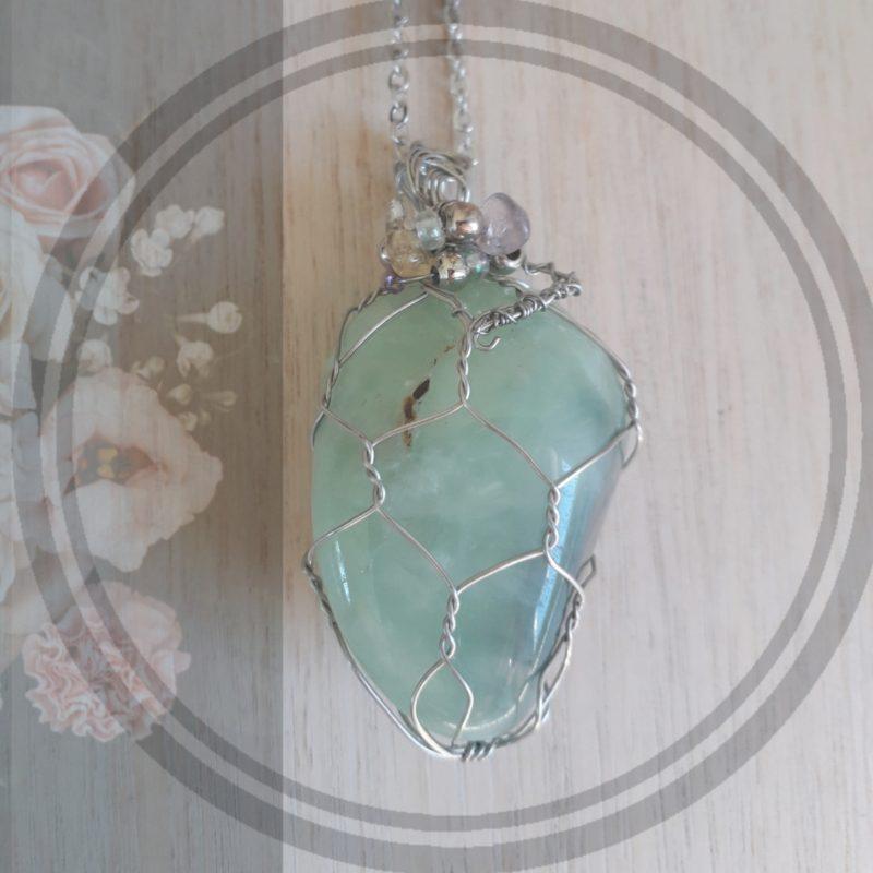 aventurine stone wire wrapped pendant