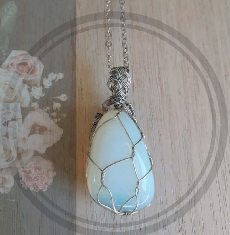Opalite wire wrapped pendant jewellery