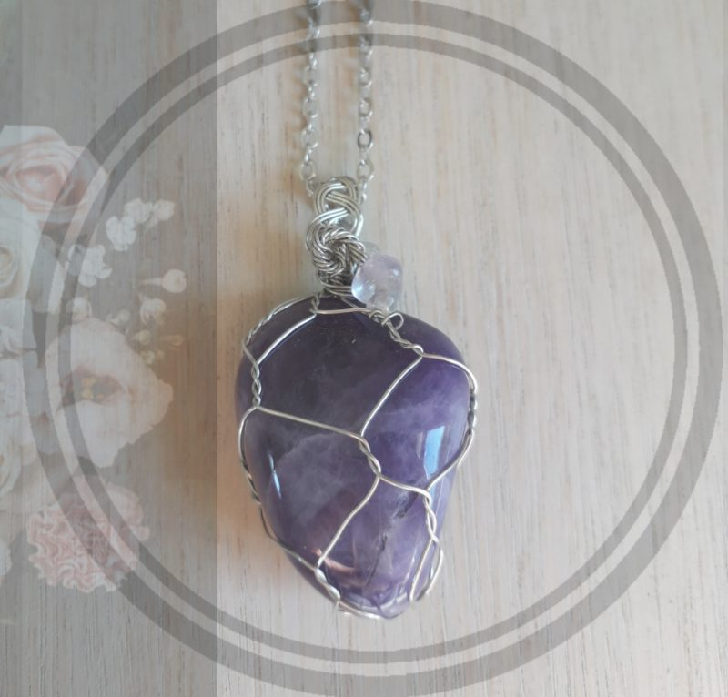 Amethyst semi precious stone wire wrapped pendant jewellery