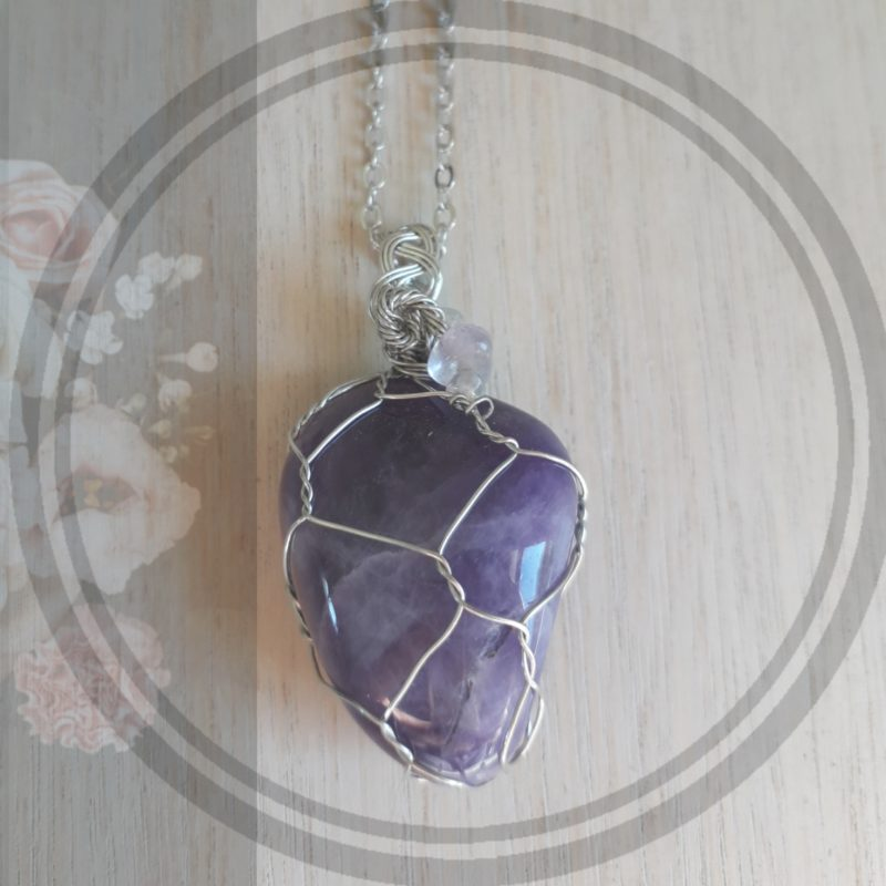 Amethyst semi precious stone wire wrapped pendant jewellery