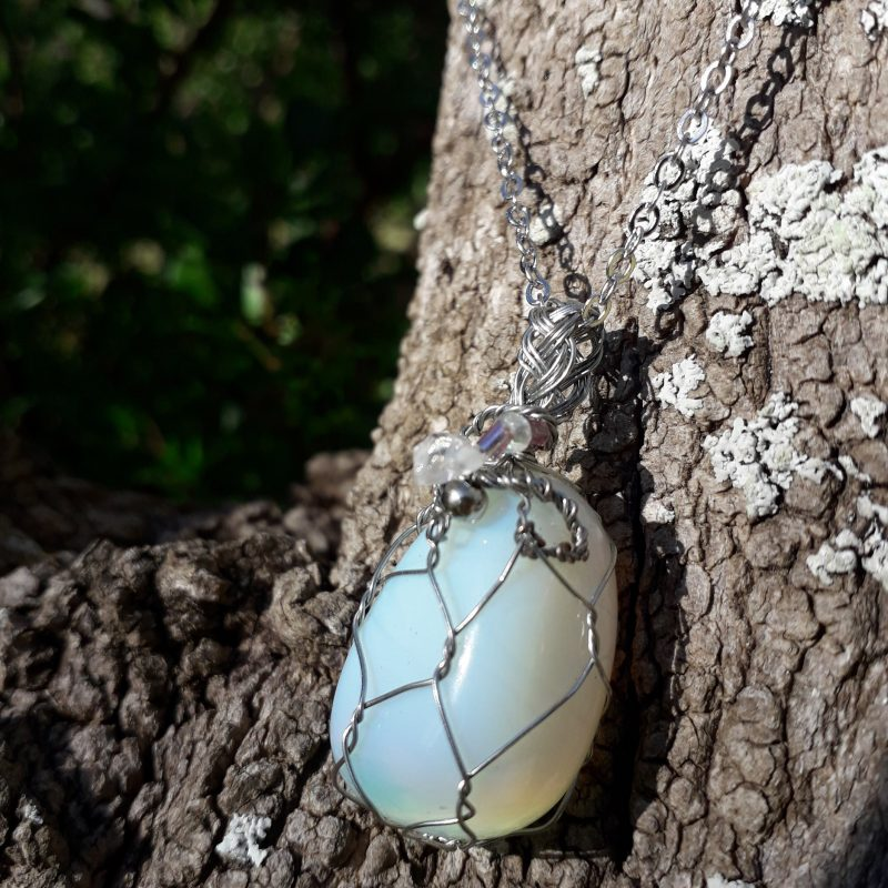 opalite wire wrapped pendant