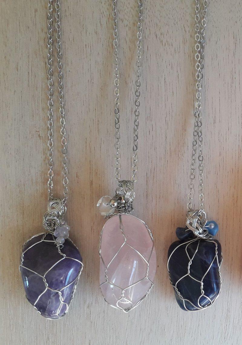 rose quartz amethyst pendant