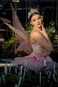 ballet dancer in pale pink wings